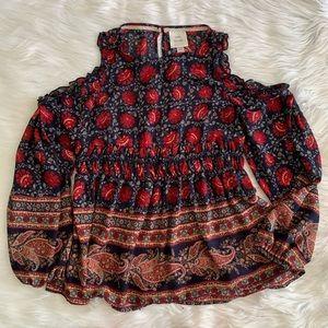 Knox rose off the should boho paisley blouse